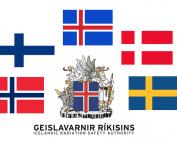 Fánar Norðurlandanna og merki Geislavarna ríkisins